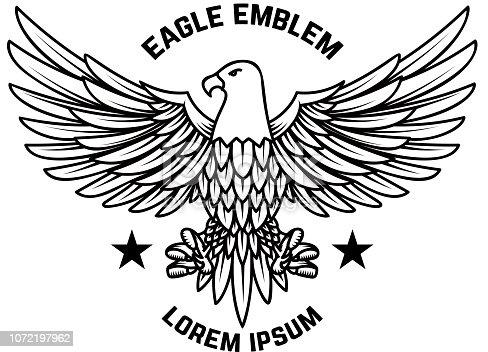 Emblem template with eagle in engraving style. Design elements for label, sign, menu. Vector illustration