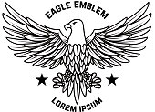 Emblem template with eagle in engraving style. Design elements for label, sign, menu. Vector illustration
