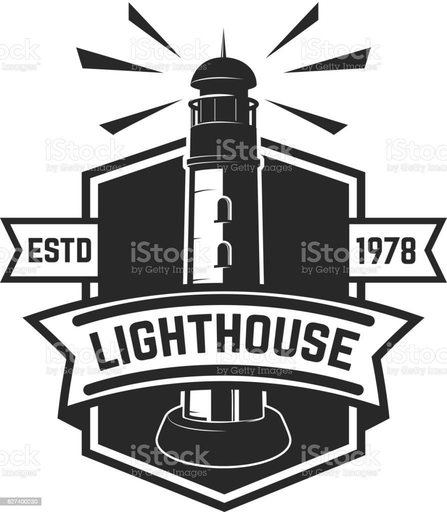 Emblem Template With Lighthouse Isolated On White Background Design