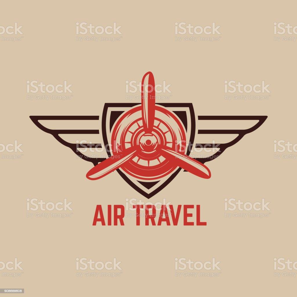 emblem template with retro airplane design element for label emblem