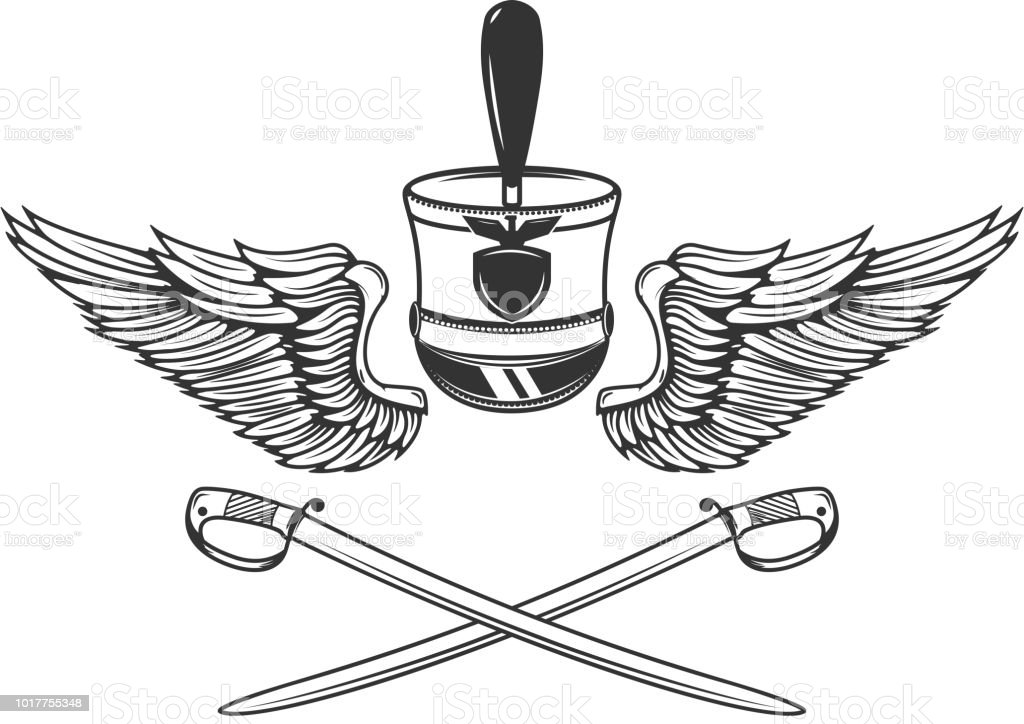 emblem template with saberswings hussar hat design element for label