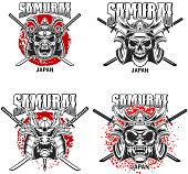 Emblem template with samurai helmet and crossed katanas on grunge background. Design element for label, sign, poster, t shirt. Vector illustration