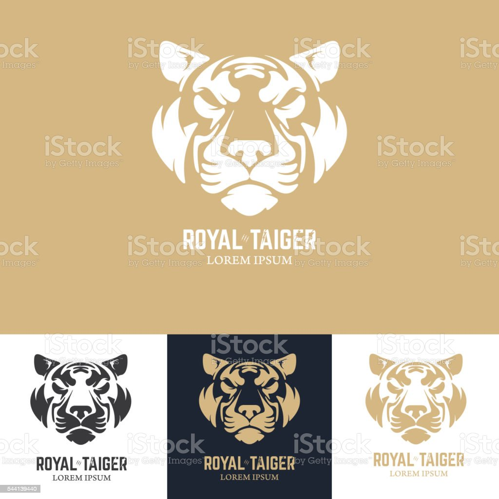 Emblem template with tiger head. vector art illustration
