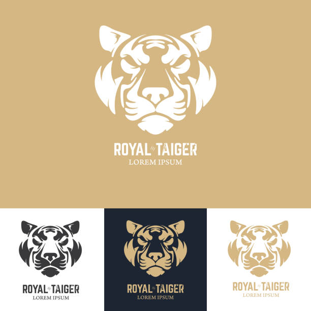emblem template with tiger head. - tiger stock illustrations, clip art, cartoons, & icons