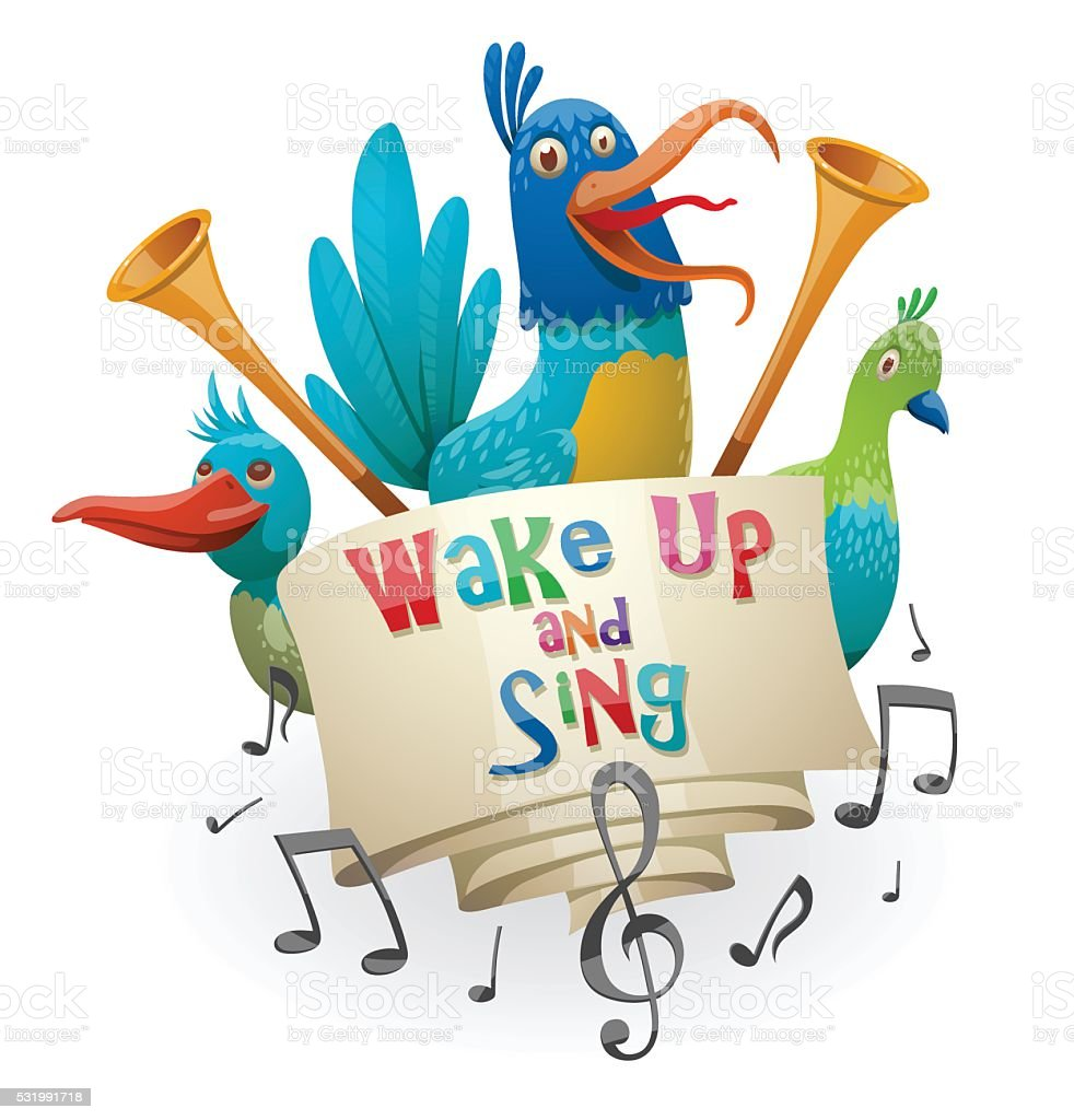 Emblem 'Wake up and sing', blue, green birds vector art illustration