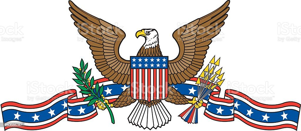 USA Emblem with Eagle vector art illustration