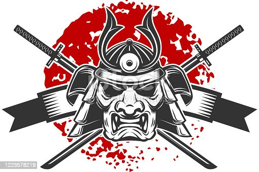 Emblem with samurai helmet and crossed katana swords. Design element for label, sign, poster, t shirt. Vector illustration