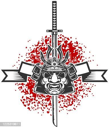 Emblem with samurai helmet and  katana sword. Design element for label, sign, poster, t shirt. Vector illustration