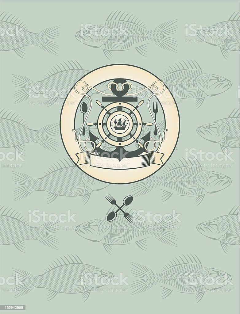 emblem with the sailboat, wheel and anchor royalty-free stock vector art