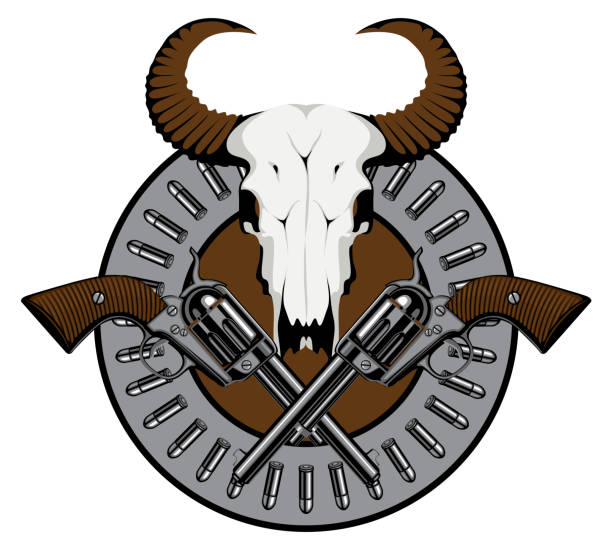 emblem with two old revolvers, bullets and skull Vector round emblem with skull of bull, two old crossed revolvers and bullets. Banner on the theme of death, firearms and pistols. Template for clothing, t-shirt design, tattoo gun shop stock illustrations