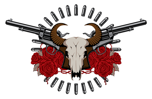 emblem with two old revolvers, skull and roses