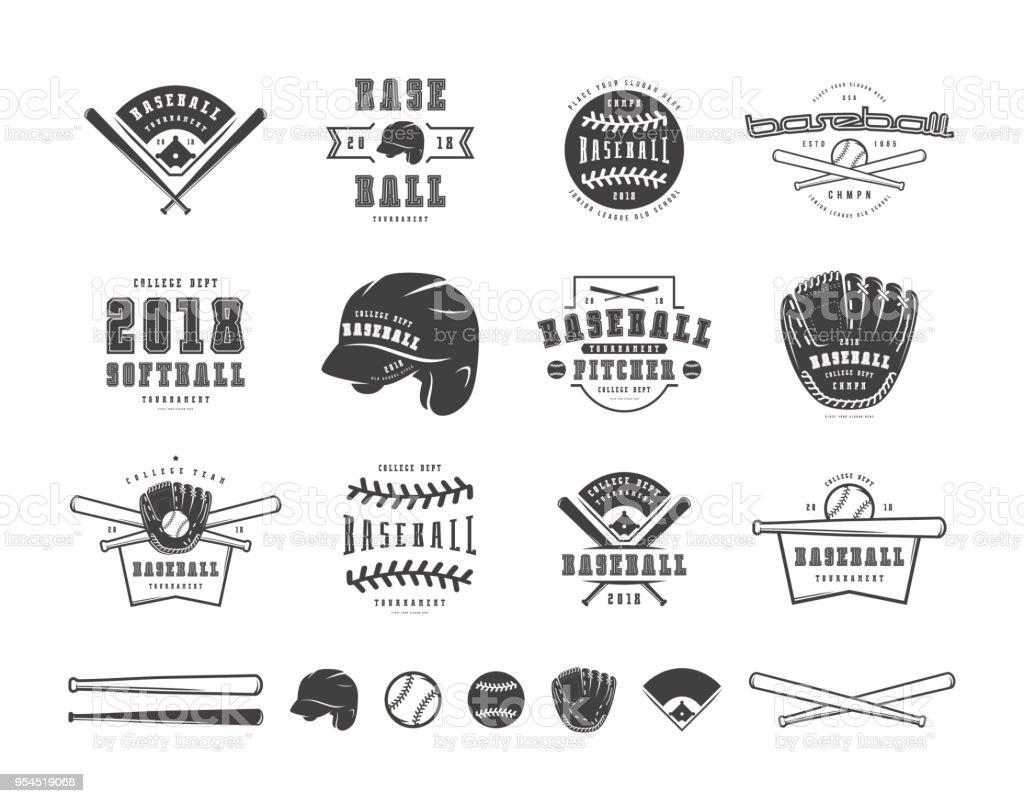 Emblèmes et insignes ensemble de l'équipe de baseball - Illustration vectorielle