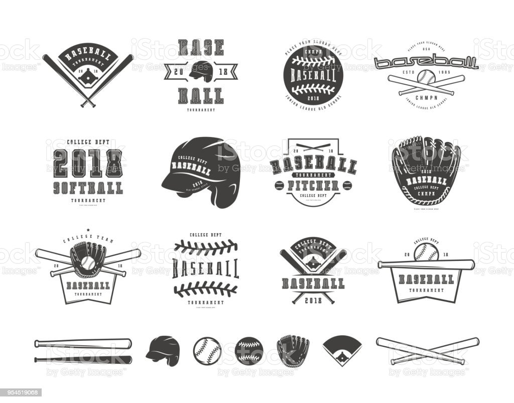 Emblems and badges set of baseball team vector art illustration