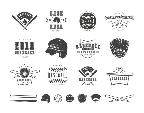 ilustraciones, imágenes clip art, dibujos animados e iconos de stock de conjunto de emblemas e insignias del equipo de béisbol - béisbol