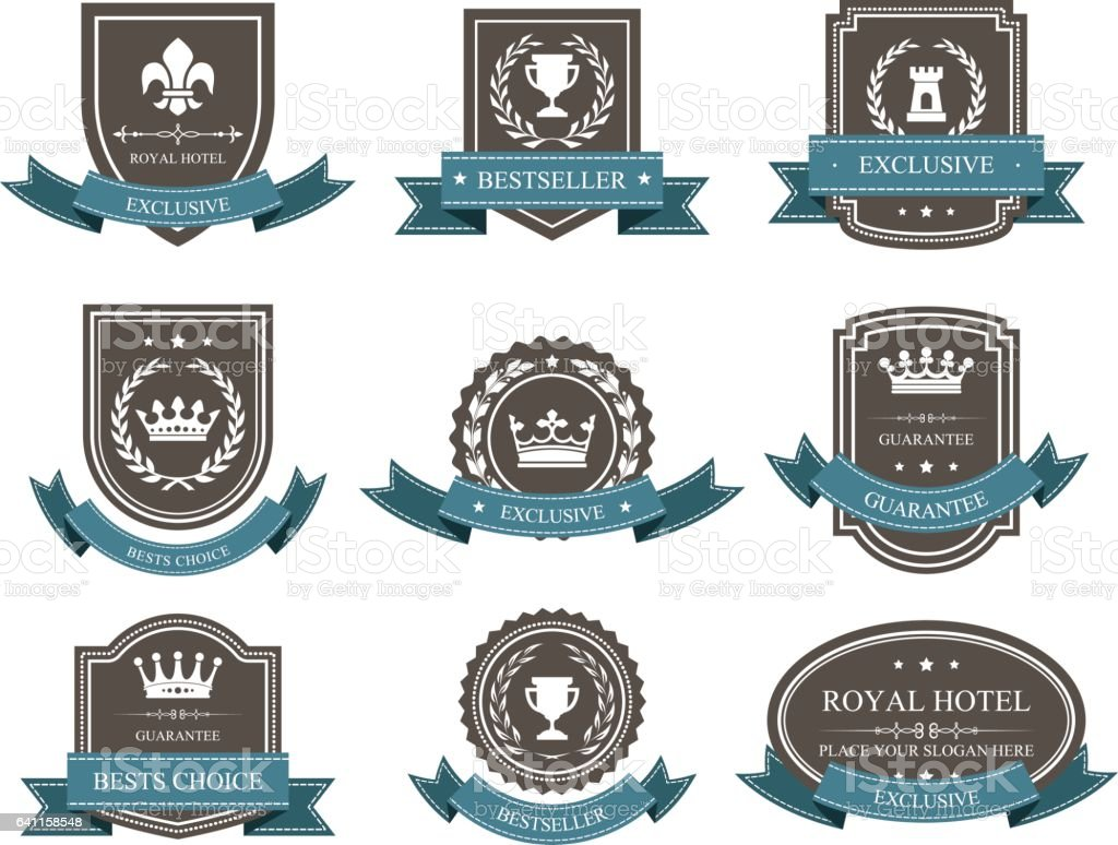 Emblems and badges with crowns and ribbons - award vector art illustration