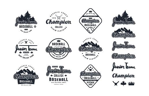 Emblems and lettering set of baseball team