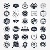 Emblems, badges and retro seals set - blazons and labels