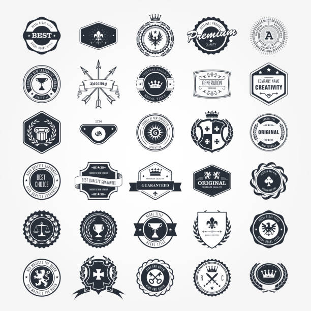 emblems, badges and retro seals set - blazons and labels - przypinka stock illustrations