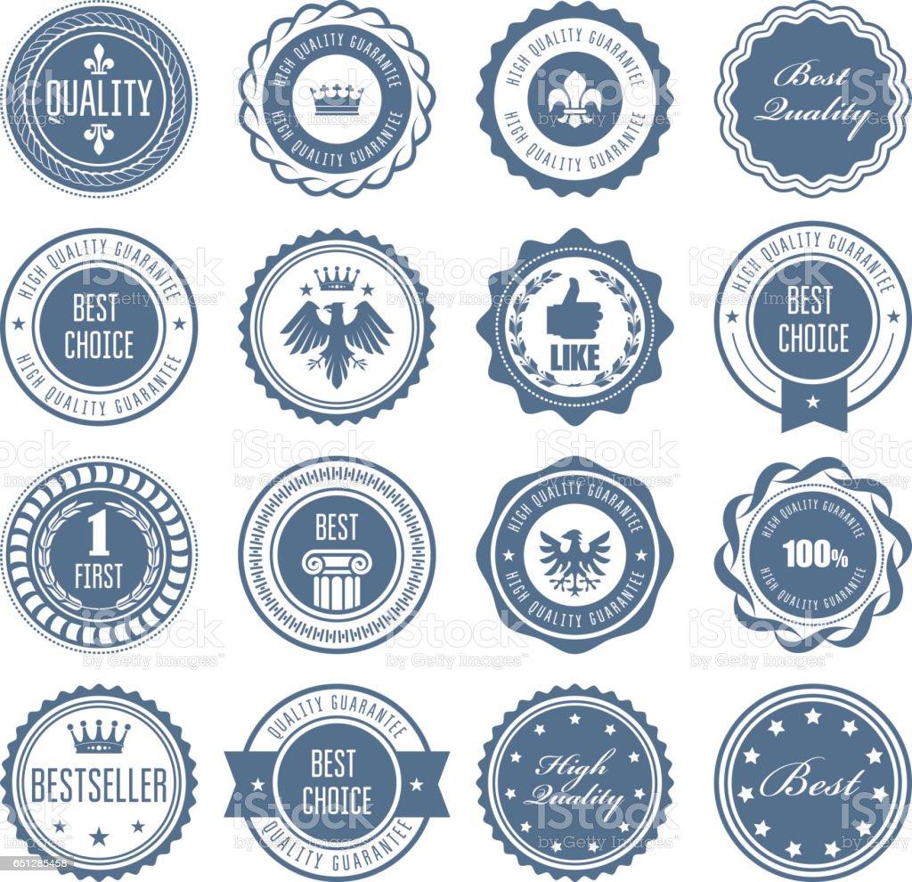Emblems, badges and stamps - awards and seals designs vector art illustration