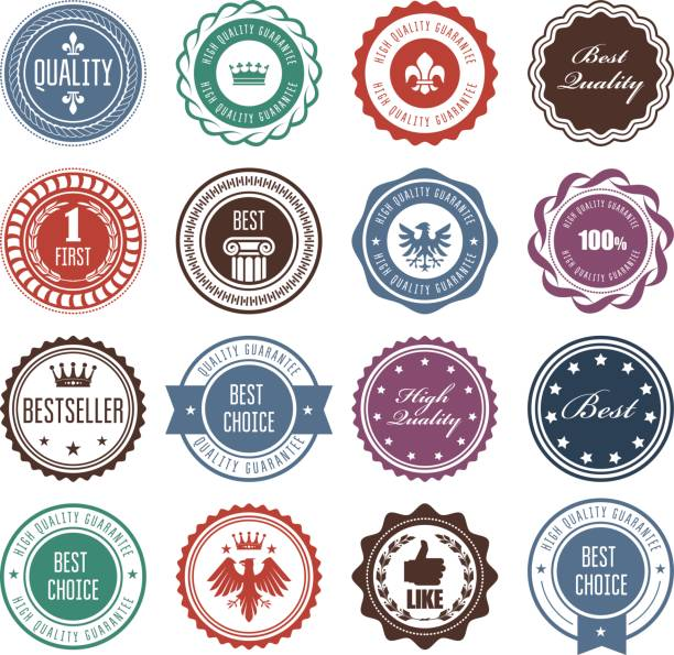 Emblems, badges and stamps - prize seals designs vector art illustration