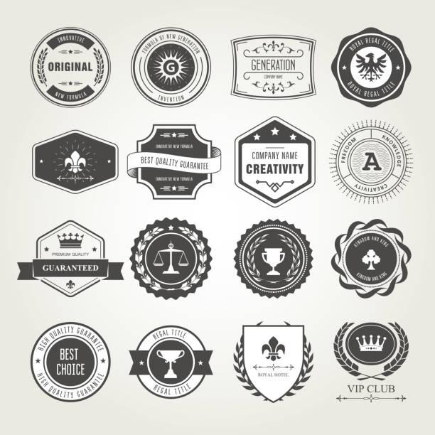 ilustrações de stock, clip art, desenhos animados e ícones de emblems, badges and stamps set - awards and seals designs - porta retrato