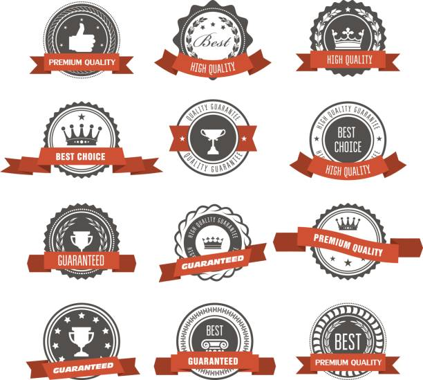 Emblems, badges and stamps with ribbons - awards and seals designs vector art illustration