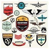 Emblems, design elements , badges and logo patches. Aviation