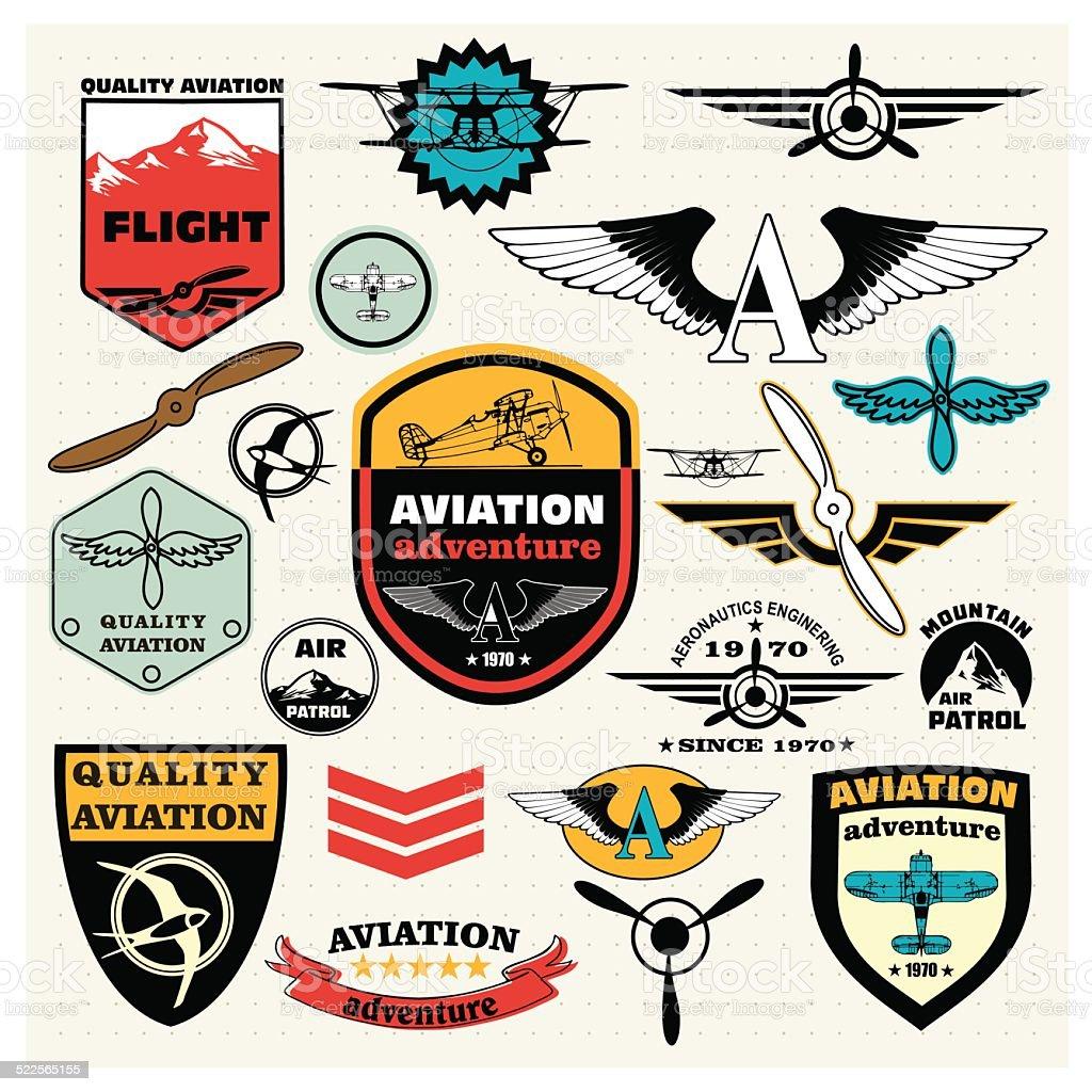 Emblems,, señales y elementos de diseño de logotipo parches.  La aviación - ilustración de arte vectorial