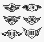 Set of retro emblems with wings. Stylish and brutal emblems for rock, biker, custom garage theme. Vector emblem templates.