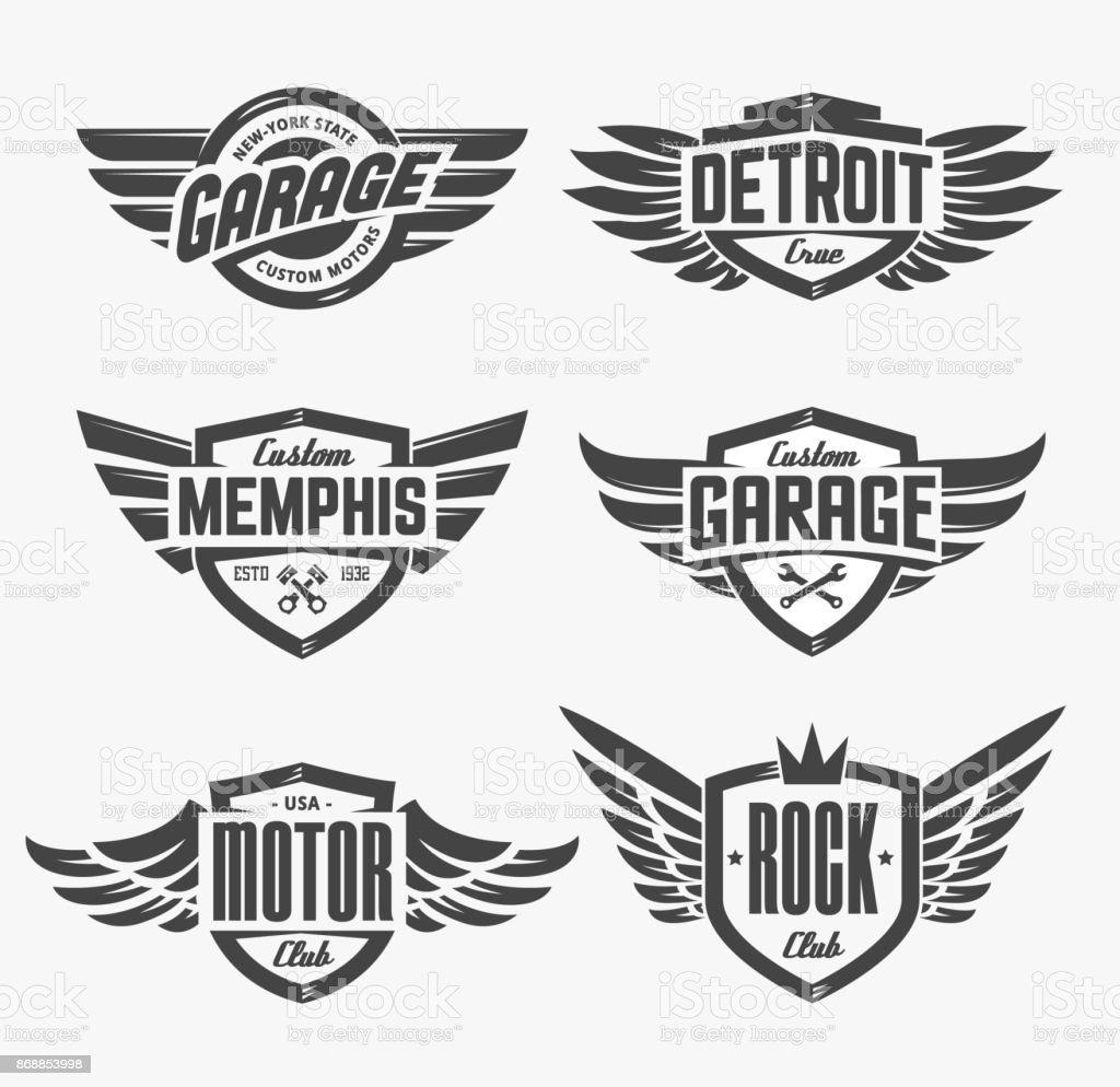 Emblemas com conjunto de asas - ilustração de arte em vetor
