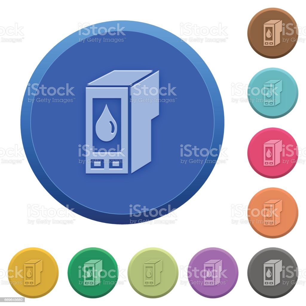 Embossed ink cartridge buttons vector art illustration