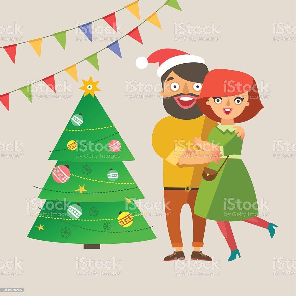 カップルはクリスマスの背景にシンプル - 2015年のベクターアート素材や