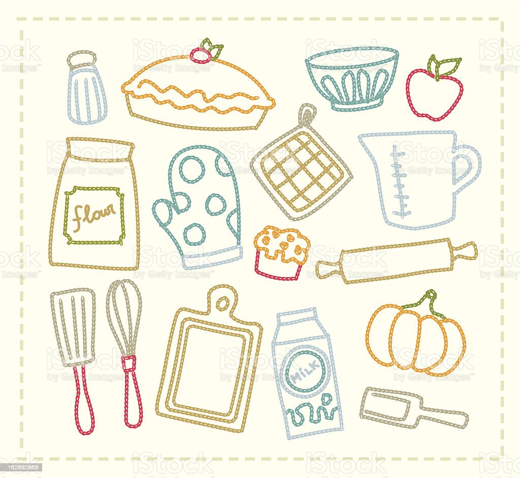 Embroidered Baking Supplies Royalty Free Stock Vector Art Amp More Images
