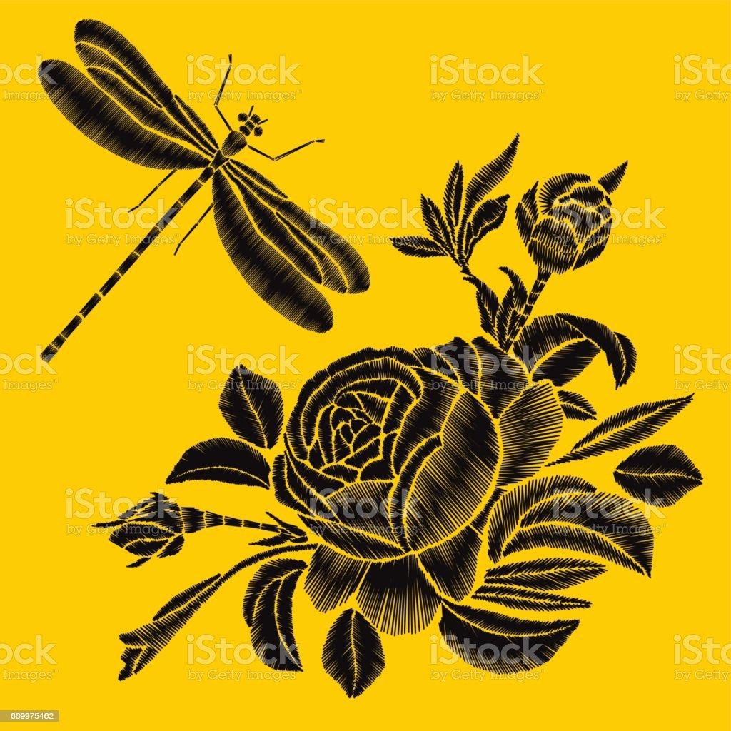 Ilustración de Flor Color De Rosa Negro Bordado Sobre Un Fondo ...