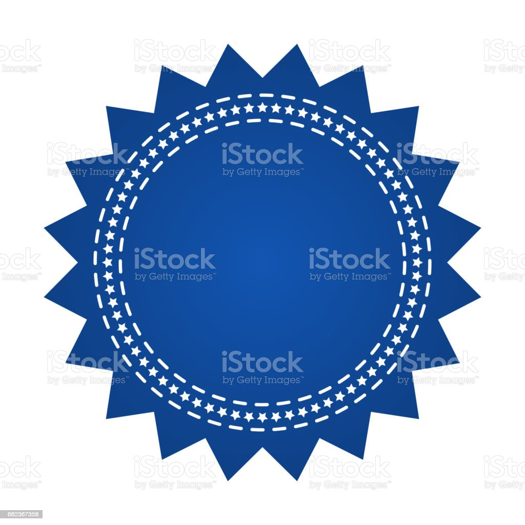 Embroidered blue round ribbon stamp isolated on white. Can be used for banner, award, sale, icon, symbol, label etc. Vector illustration embroidered blue round ribbon stamp isolated on white can be used for banner award sale icon symbol label etc vector illustration - immagini vettoriali stock e altre immagini di a forma di stella royalty-free