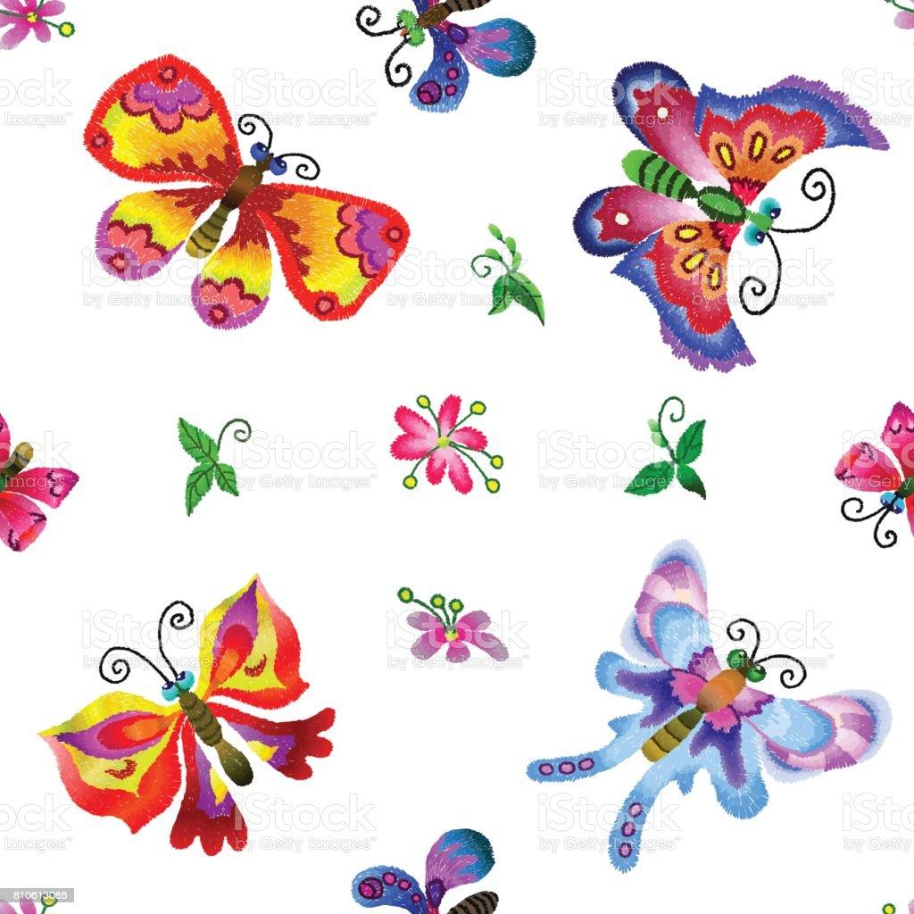 Ilustración de Mariposas Bordadas De Patrones Sin Fisuras y más ...