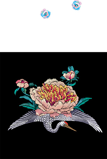 Embroidered crane with chrysanthemum. Embroidery in traditional Japanese style