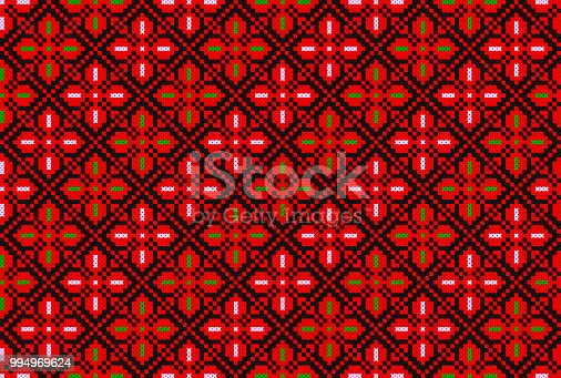 istock Embroidered cross-stitch pattern. Palestinian national seamless ornament 994969624