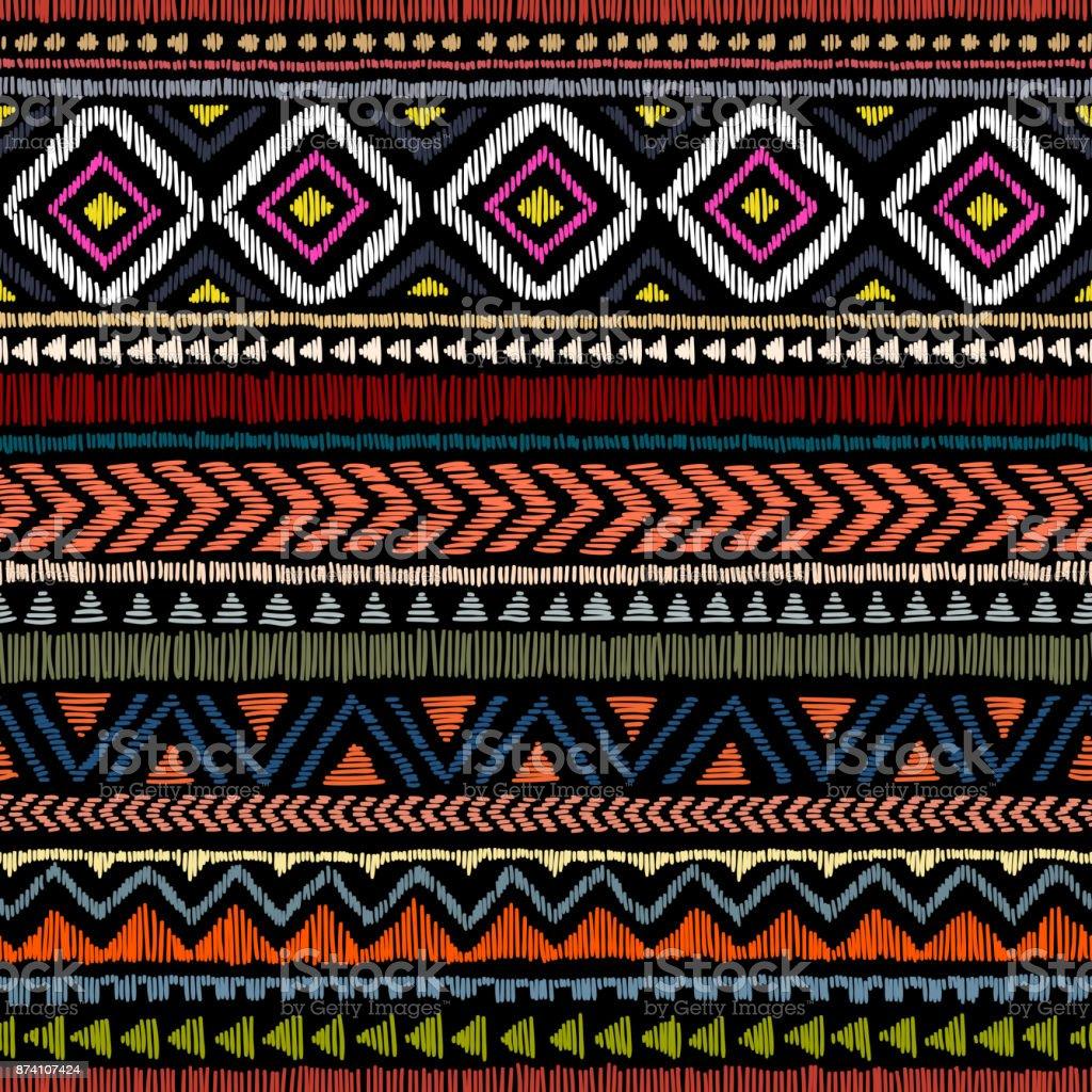Bordados étnicos de patrones sin fisuras. - ilustración de arte vectorial