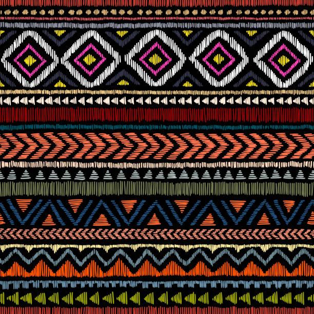 illustrazioni stock, clip art, cartoni animati e icone di tendenza di embroidered ethnic seamless pattern. - pezze di stoffa