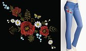 Embroidered flower patch rose on slim jeans pair decoration