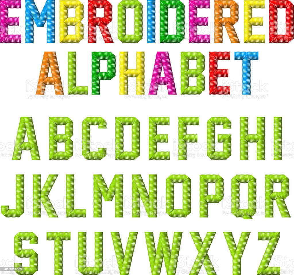 Embroidered font, alphabet vector art illustration