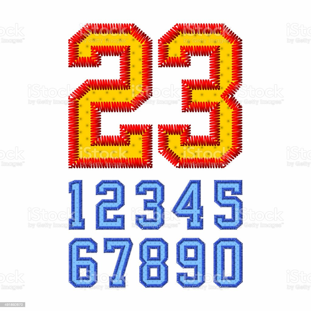 Embroidered font numbers vector art illustration