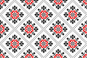 embroidered good like old handmade cross-stitch ethnic Ukraine pattern. Ukrainian seamless ornament in vector