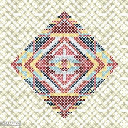 Gesticktes Handgemachte Kreuzstich Ethnische Muster Stock Vektor Art ...