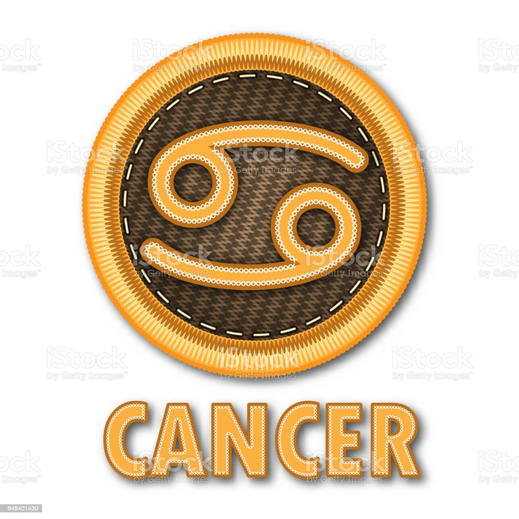 Embroidered Patch Work Of Cancer Zodiac Sign Symbol Icon For Vector