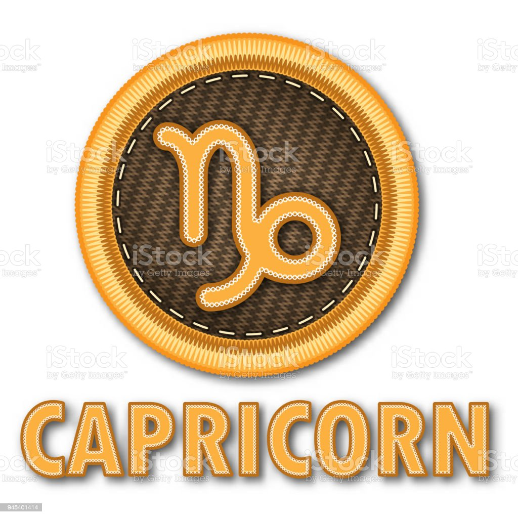 Embroidered Patch Work Of Capricorn Zodiac Sign Symbol Icon For