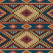 embroidered seamless geometric pattern, ornament for the carpet, ethnic and tribal motifs, colorful print of handmade, vector illustration
