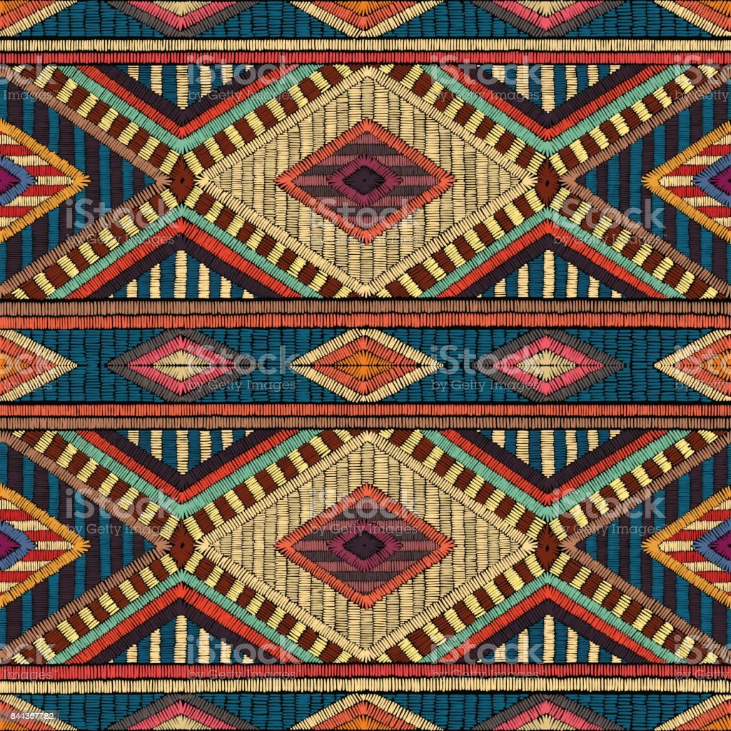 Embroidered seamless geometric pattern. Ethnic and tribal motifs. vector art illustration