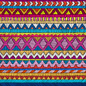 Embroidered seamless geometric pattern.